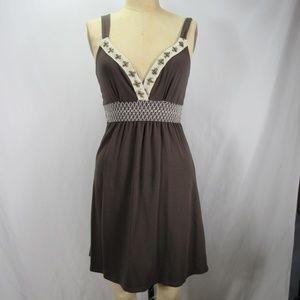 Calvin Klein Brown V Neck Stretch Empire Dress M
